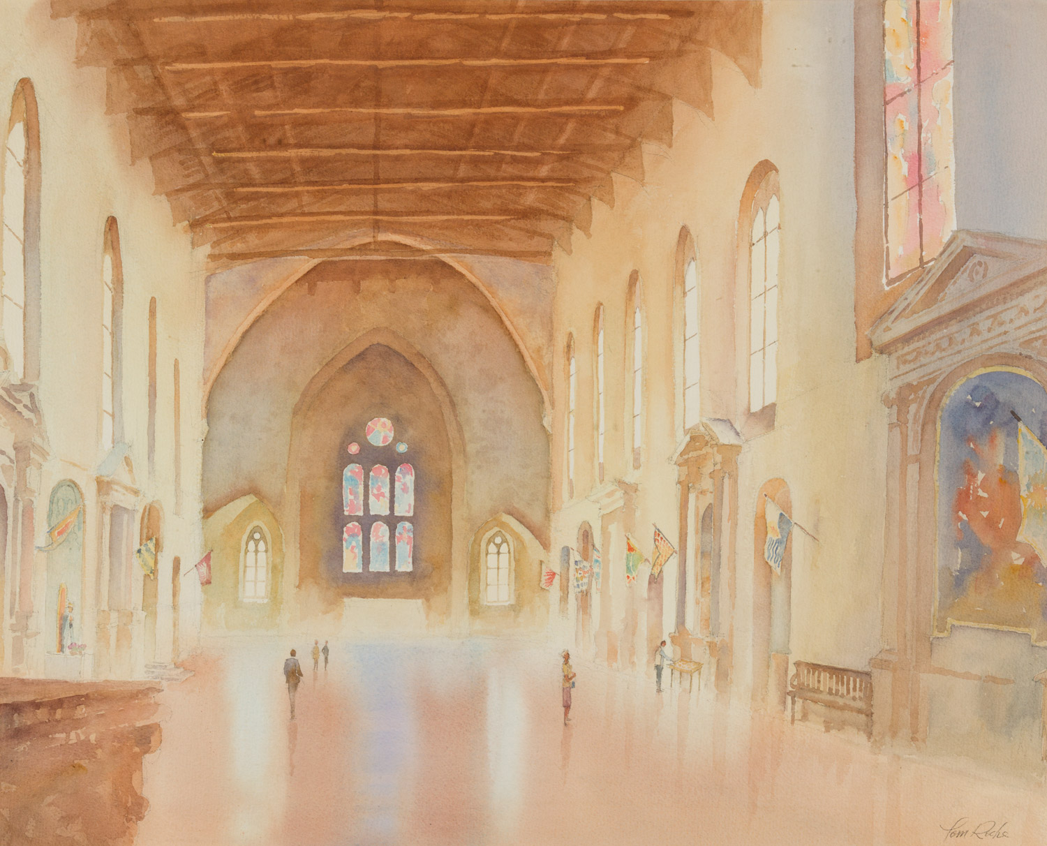 Watercolour painting of Church of Saint Dominic in italy
