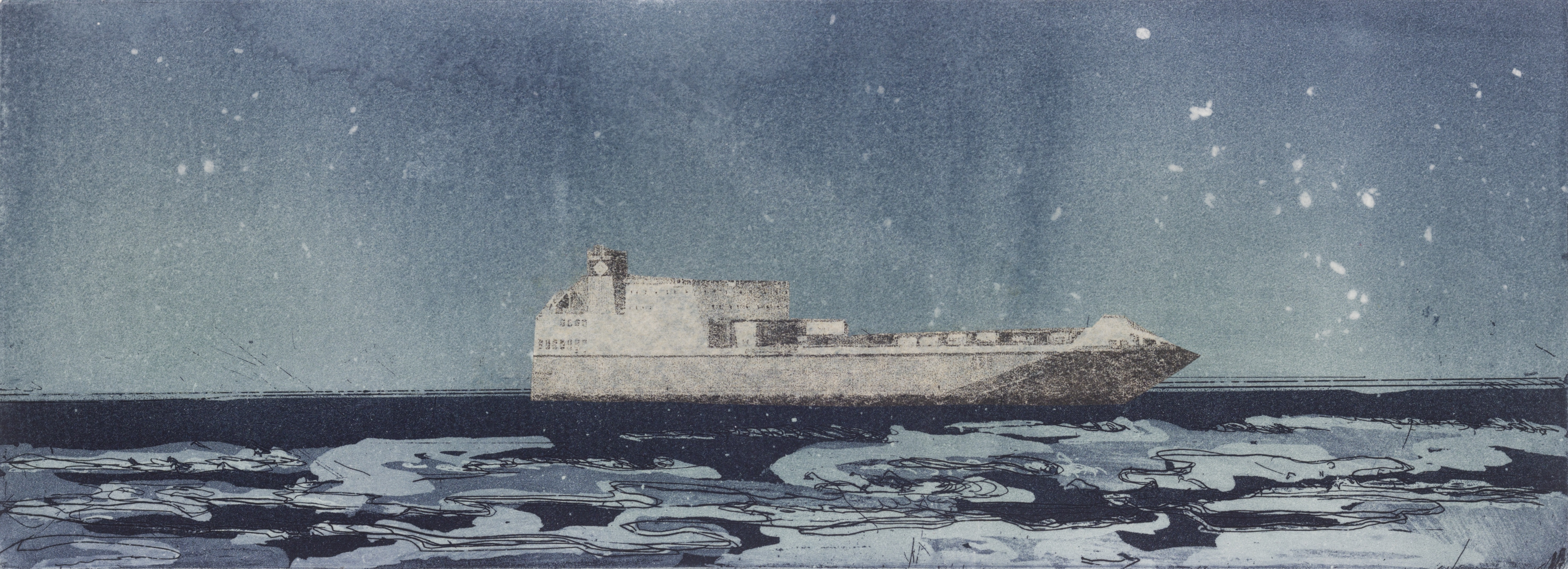 Image of a ferry by artist Linda Uhlemann