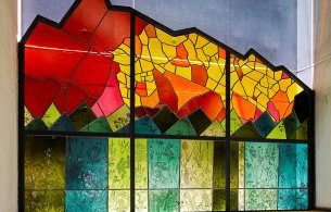 photograph showing a detail from the glass artwork by Katharine Lamb situated in dlr LexIcon