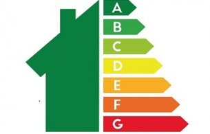 House with energy rating scale