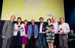 Our Architects team, Housing, A2 Architects and An Leas Cathaoirleach Deirdre Donnelly at the RIAI Awards night