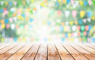 picture of bunting over a stage or table