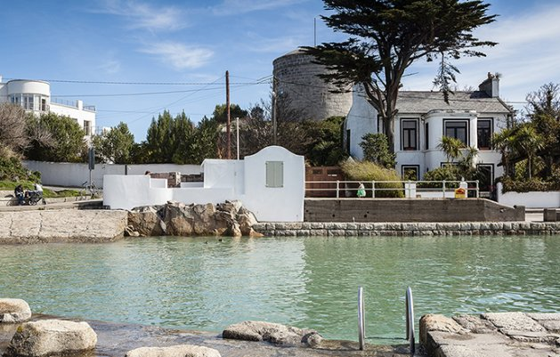 Sandycove Bathing and Lifeguard Hut, View from North Pier, Dun Laoghiare, Sandycove, DLR Architects Department