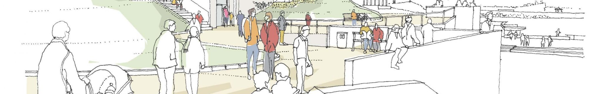 An artist's view of the proposed development of Dún Laoghaire Baths, viewed from Newtownsmith