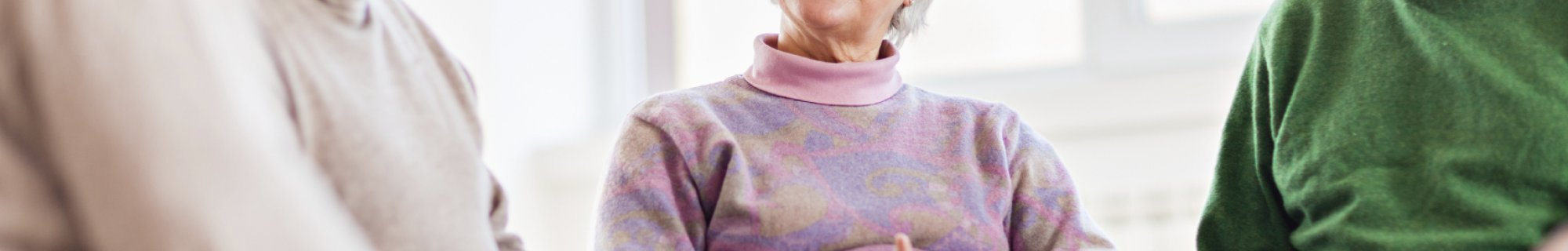 Stock image of older people talking