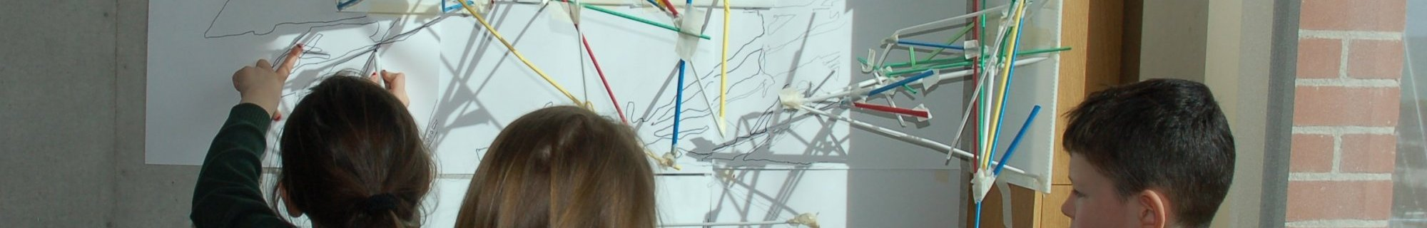 children creating artworks