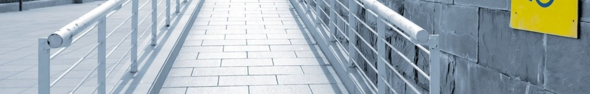 Wheelchair access ramp with signage