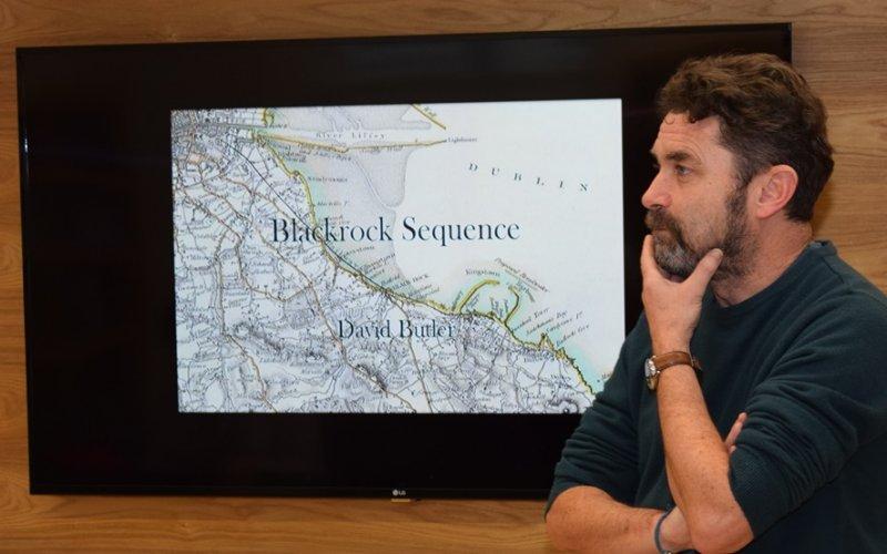 Writer David Butler speaking in Blackrock Library in February 2017