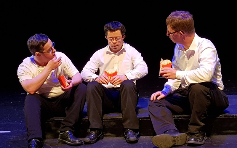 Image from performance 'Do we not Laugh' by Loaded Dice Theatre Company