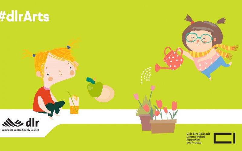 Image of cartoon children watering the garden