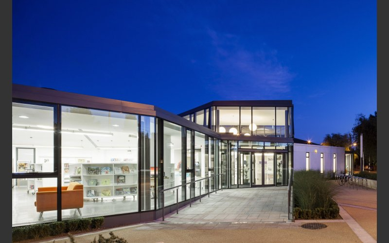 deansgrange library building at night