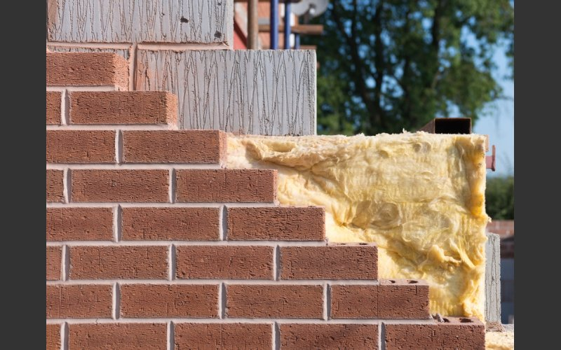 Redbrick wall with insulation