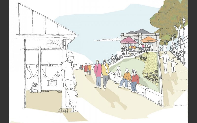 An artist's impression of what the Dún Laoghaire Baths site will look like, viewed from the East Pier