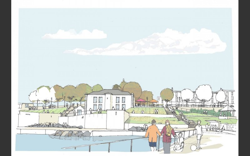 A redeveloped Dún Laoghaiore Baths site viewed from the proposed new jetty in Scotsman's Bay, where there will be facilities for sea swimming and small marine craft