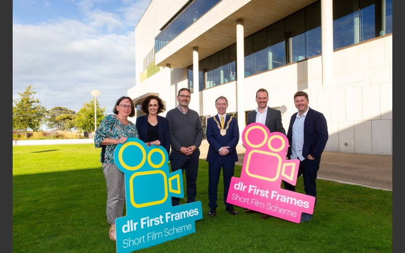 Photo of the Cathaoirleach launching dlr First Frames with dlr Arts Office & IADT personnel