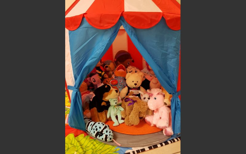 Teddies in a tent