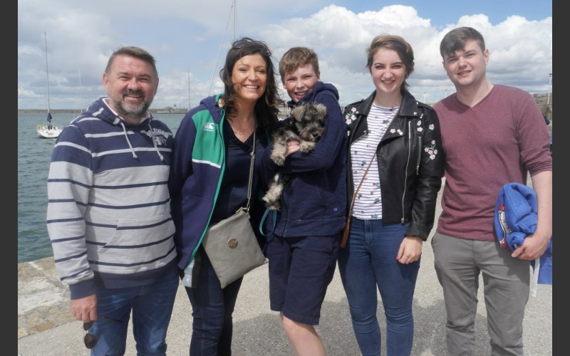 Joe, Jess, Gavin, Martha and Fionn with doggy Bo