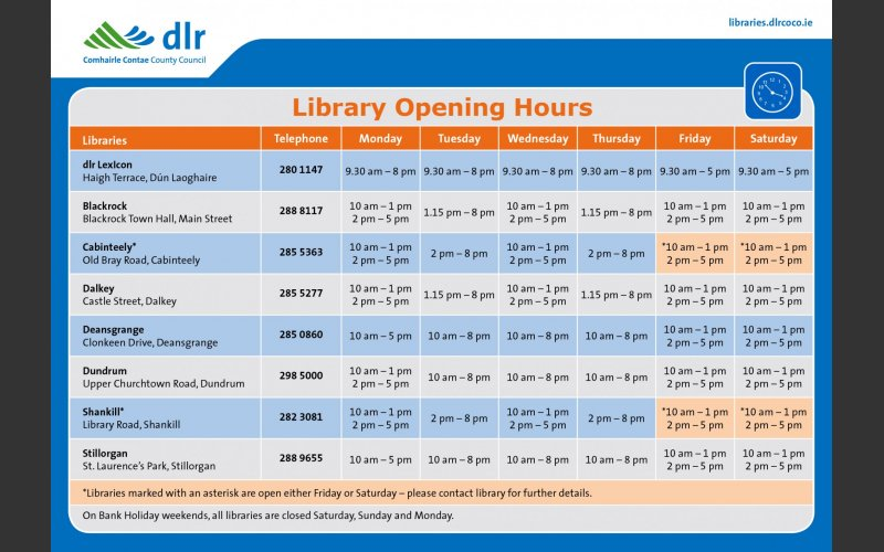 Libraries information leaflet, opening hours