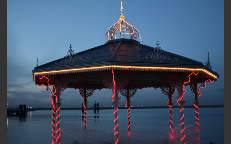 image of Rave at Close of Day by Jenny Moran featuring the bandstand on Dun Laoghaire Pier