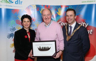 Austin Hynes (centre), Older Persons Category, pictured with Dearbhla Lawson, Director of Community and Cultural Development and An Cathaoirleach Councillor Tom Murphy