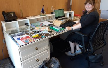 Sadhbh Devlin at Jennifer Johnstons desk
