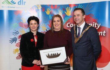 Trish O'Hanlon (centre), Sports and Recreation Category, pictured with Dearbhla Lawson, Director of Community and Cultural Development and An Cathaoirleach Councillor Tom Murphy.