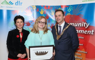 Viola Di Bucchianico (centre), Social Inclusion Category, pictured with Dearbhla Lawson, Director of Community and Cultural Development and An Cathaoirleach Councillor Tom Murphy.